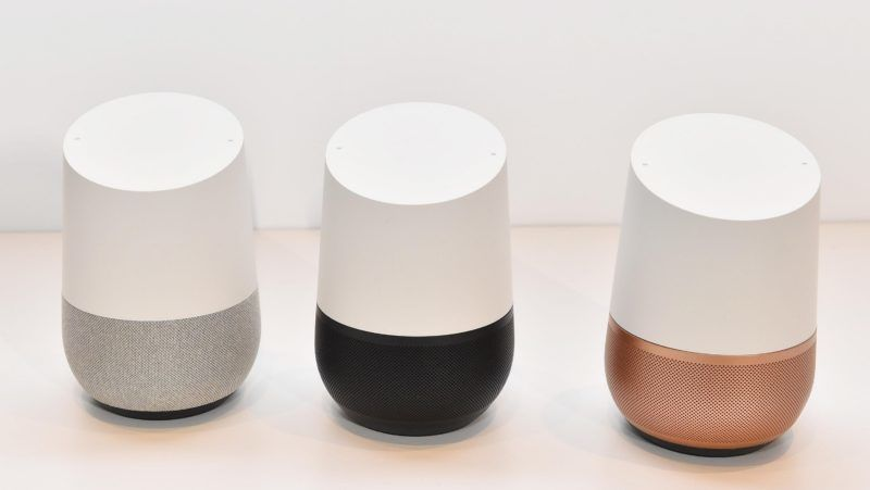 This picture taken on Oct. 5, 217 shows AI speaker Google Home during a press conference at Grand Hyatt Tokyo on Oct.5, 2017. In Japan, speaker will be released on 6th. ( The Yomiuri Shimbun )
