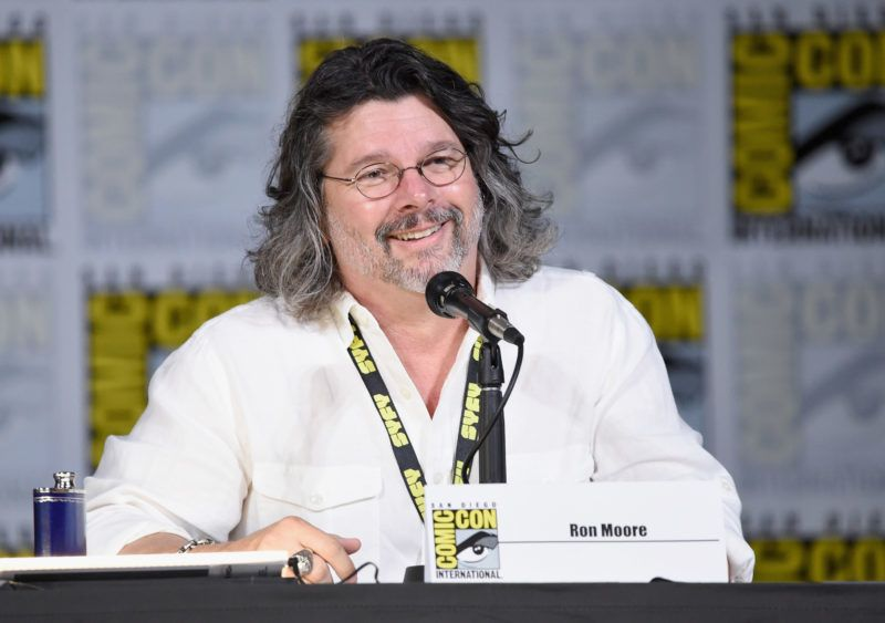 """SAN DIEGO, CA - JULY 20: Screenwriter Ron Moore speaks onstage at SYFY: """"Battlestar Galactica"""" Reunion during Comic-Con International 2017 at San Diego Convention Center on July 20, 2017 in San Diego, California.   Mike Coppola/Getty Images/AFP"""
