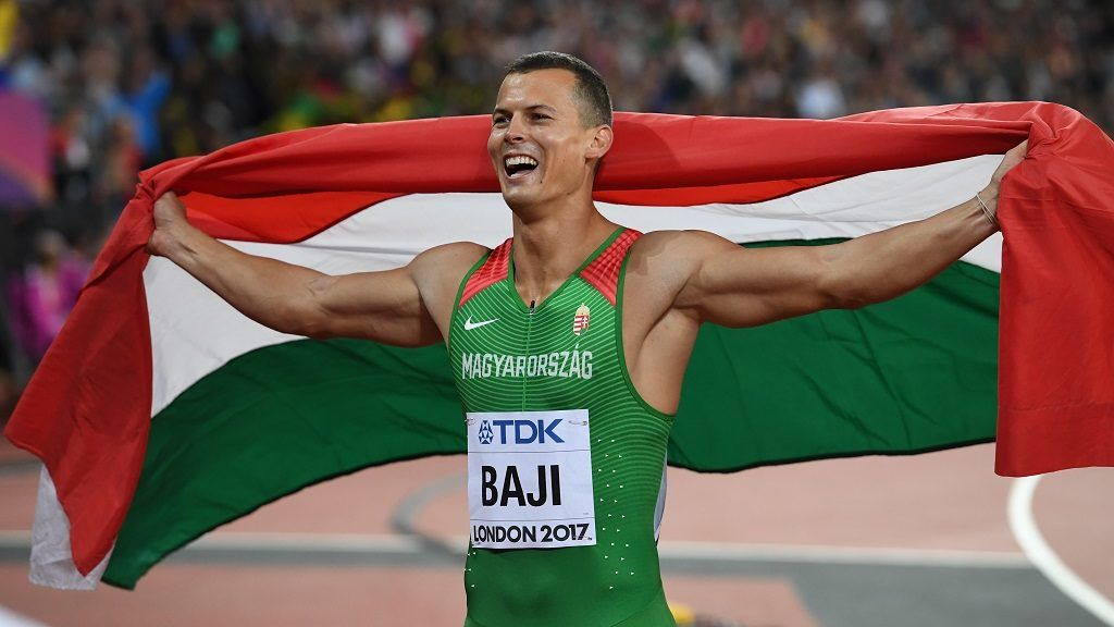 Hungary's Balázs Baji celebrates his third place in the final of the men's 110m hurdles athletics event at the 2017 IAAF World Championships at the London Stadium in London on August 7, 2017.  / AFP PHOTO / Kirill KUDRYAVTSEV