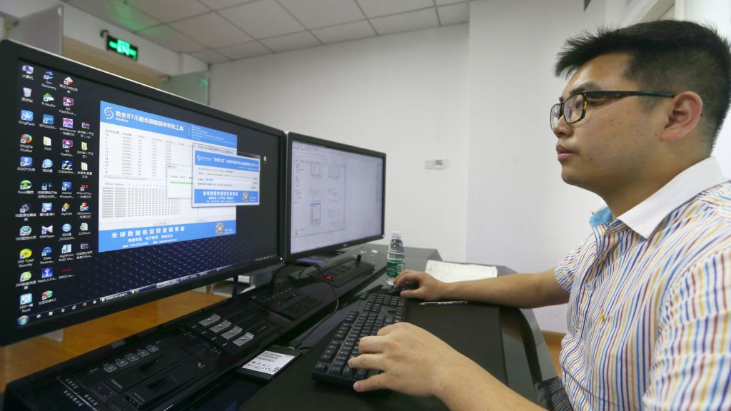 A Chinese engineer presents the software to recover files encrypted by the virus ''WannaCry'' at the Recovery Key Laboratory of Sichuan Province in Chengdu city, southwest China's Sichuan province, 15 May 2017.