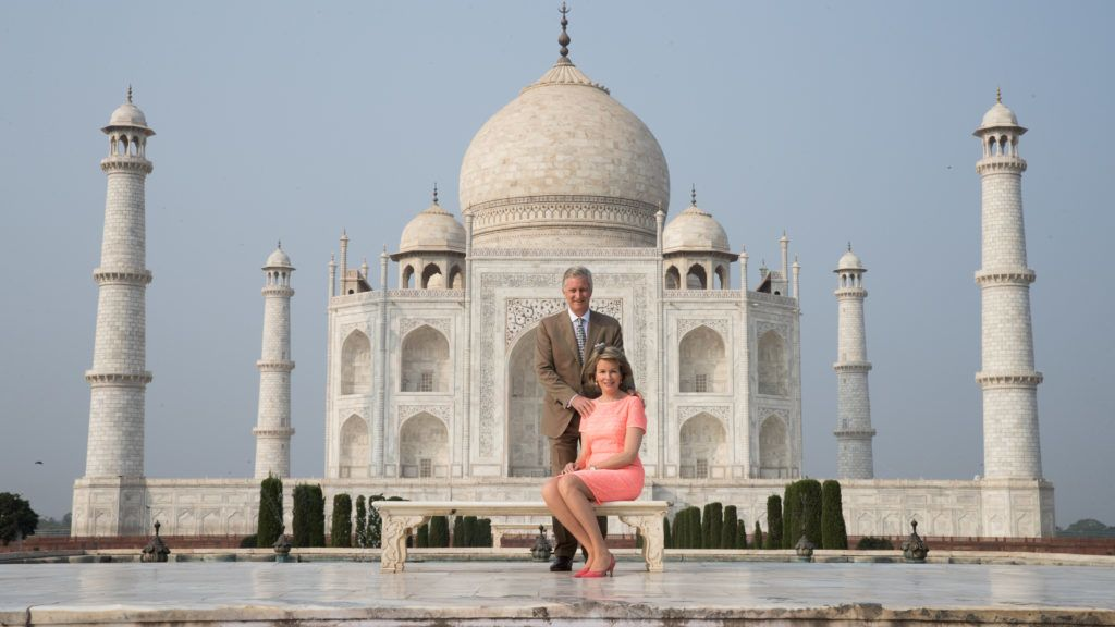 King Philippe - Filip and Queen Mathilde of Belgium pictured during a guided tour visit of the Taj Mahal on the first day of the state visit of the Belgian royal couple to India, Monday 06 November 2017, in New Delhi, India. BELGA PHOTO BENOIT DOPPAGNE