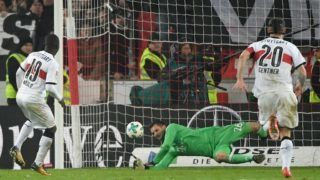Munich's goalkeeper Sven Ulreich (C) and Stuttgart's Chadrac Akolo (L) vie for the ball during the German Bundesliga soccer match between VfB Stuttgart and Bayern Munich in the Mercedes Benz Arena inStuttgart, Germany, 16 December 2017. Christian Gentner on the right.   (EMBARGO CONDITIONS - ATTENTION: Due to the accreditation guidelines, the DFL only permits the publication and utilisation of up to 15 pictures per match on the internet and in online media during the match.) Photo: Marijan Murat/dpa
