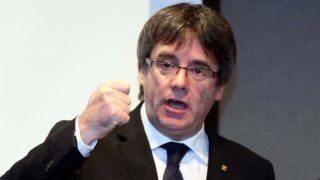 BRUGES, BELGIUM - NOVEMBER 25: Former Catalan President Carles Puigdemont holds a press conference in Bruges to announce that he will become a canditate for Catalan regional elections and unveil his electoral list for the December 21 election, in Belgium on November 25, 2017.    Dursun Aydemir / Anadolu Agency