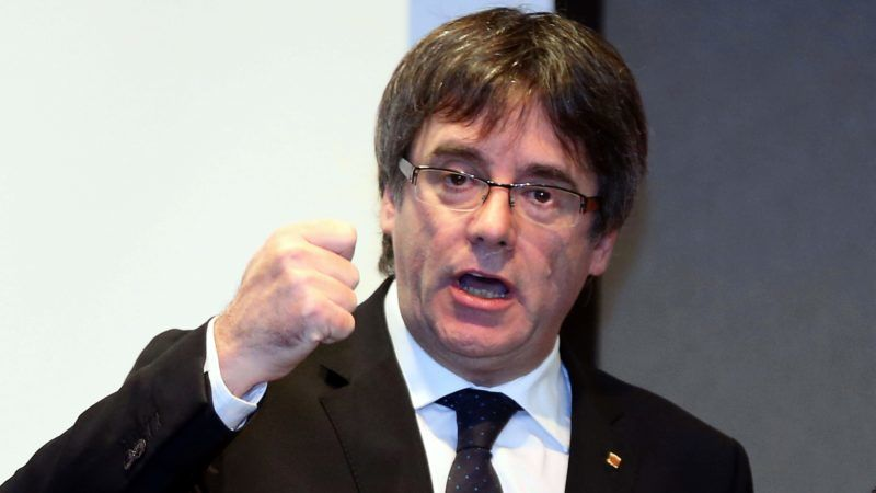 BRUGES, BELGIUM - NOVEMBER 25: Former Catalan President Carles Puigdemont holds a press conference in Bruges to announce that he will become a canditate for Catalan regional elections and unveil his electoral list for the December 21 election, in Belgium on November 25, 2017.