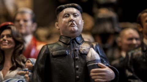 Kim Jong-un North Korea President is seen in 'Via San Gregorio Armeno' in Naples, Italy on December 18, 2017. Various sculptures being sold in Via San Gregorio Armeno, a street famous for its artisan shops selling nativity displays in Naples.  (Photo by Paolo Manzo/NurPhoto)