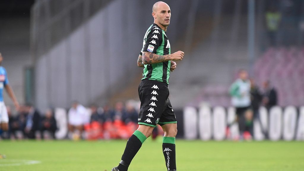 Paolo Cannavaro of US Sassuolo during the Serie A TIM match between SSC Napoli and US Sassuolo at Stadio San Paolo Naples Italy on 29 October 2017. (Photo Franco Romano/Nurphoto)