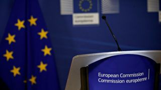 Prime Minister of Albania Edi Rama and European Commission President Jean-Claude Juncker hold a press conference after their meeting at the EU Commission headquarters in Brussels, Belgium on Dec. 4, 2017.