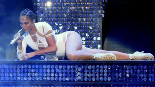 LAS VEGAS, NV - SEPTEMBER 19:  Singer/actress Jennifer Lopez performs at the 2015 iHeartRadio Music Festival at MGM Grand Garden Arena on September 19, 2015 in Las Vegas, Nevada.  (Photo by Ethan Miller/Getty Images for iHeartMedia)