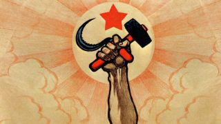 Symbols of communism: the hand wielding the hammer and sickle, in the background the rising sun and the red star ***Long live the fifth anniversary of the Great Proletarian Revolution!***. Color lithograph. Digital optimization from detail of a Ivan Simakov 1922 poster. Italy, Milan 2016. (Photo by Fototeca Gilardi/Getty Images)