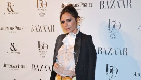 LONDON, ENGLAND - NOVEMBER 02:  Victoria Beckham, winner of the British Brand of the Year award, attends Harper's Bazaar Women of the Year Awards in association with Ralph & Russo, Audemars Piguet and Mercedes-Benz at Claridge's Hotel on November 2, 2017 in London, England.  (Photo by David M. Benett/Dave Benett/Getty Images for Harper's Bazaar )