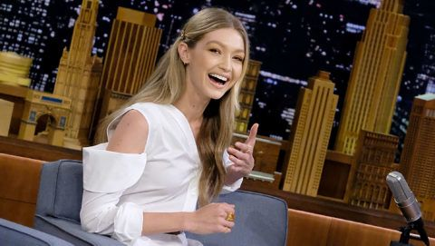 """NEW YORK, NY - NOVEMBER 15:  Gigi Hadid visits """"The Tonight Show Starring Jimmy Fallon"""" at Rockefeller Center on November 15, 2017 in New York City.  (Photo by Jamie McCarthy/Getty Images)"""