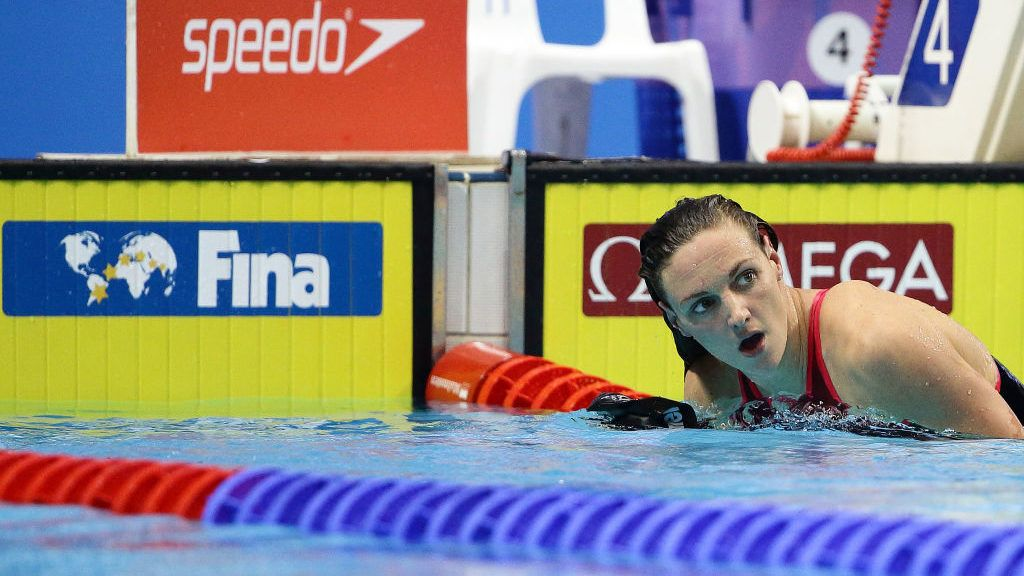 SINGAPORE - NOVEMBER 18:  Katinka Hosszu of Hungary looks on after competing in the women's 200m Individual Medley final during the FINA Swimming World Cup at OCBC Aquatic Centre on November 18, 2017 in Singapore.  (Photo by Suhaimi Abdullah/Getty Images)