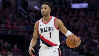 PHILADELPHIA, PA - NOVEMBER 22: Evan Turner #1 of the Portland Trail Blazers dribbles the ball against the Philadelphia 76ers at the Wells Fargo Center on November 22, 2017 in Philadelphia, Pennsylvania. NOTE TO USER: User expressly acknowledges and agrees that, by downloading and or using this photograph, User is consenting to the terms and conditions of the Getty Images License Agreement. (Photo by Mitchell Leff/Getty Images)