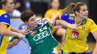 BIETIGHEIM-BISSINGEN, GERMANY - DECEMBER 03: Szabina  Mayer of Hungary and Sabina Jacobsen of Sweden in action during IHF Women's Handball World Championship group B match between Hungary and Sweden on December 03, 2017 in Bietigheim-Bissingen, Germany. (Photo by Lukasz Laskowski/PressFocus/MB Media/Getty Images)