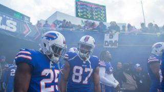 ORCHARD PARK, NY - DECEMBER 03:  LeSean McCoy #25 and Jordan Matthews #87 of the Buffalo Bills talk in the tunnel before the game against the New England Patriots at New Era Field on December 3, 2017 in Orchard Park, New York. New England defeats Buffalo 23-3.  (Photo by Brett Carlsen/Getty Images)