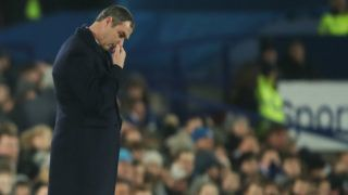 LIVERPOOL, ENGLAND - DECEMBER 18: Paul Clement head coach / manager of Swansea City dejected during the Premier League match between Everton and Swansea City at Goodison Park on December 18, 2017 in Liverpool, England. (Photo by Robbie Jay Barratt - AMA/Getty Images)