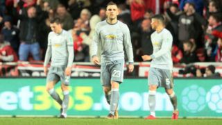 BRISTOL, ENGLAND - DECEMBER 20:  Luke Shaw of Manchester United and his team-mates react after Bristol City scored to make it 2-1 during the Carabao Cup Quarter-Final match between Bristol City and Manchester United at Ashton Gate on December 20, 2017 in Bristol, England.  (Photo by Matthew Ashton - AMA/Getty Images)