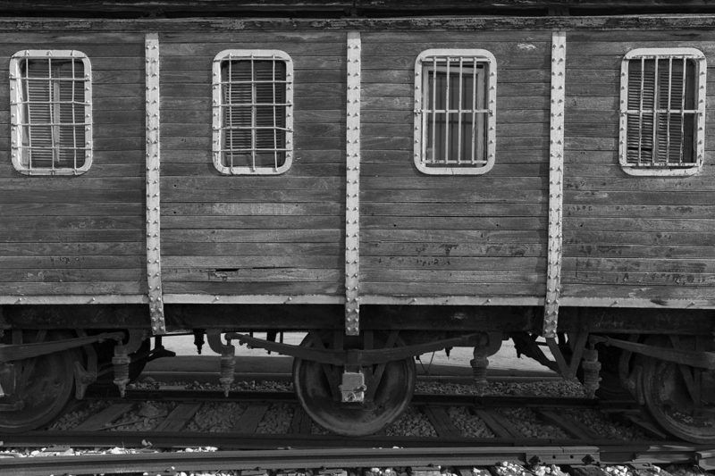 Old yellow wooden train wagon