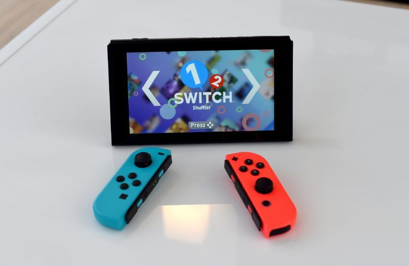 The Nintendo Switch on display as Nintendo unveils it at a pop-up Living room in Madison Square Park in New York on March 3, 2017.  Nintendo Switch is a first-of-its-kind video game system where you can play at home and take it on-the-go. / AFP PHOTO / TIMOTHY A. CLARY