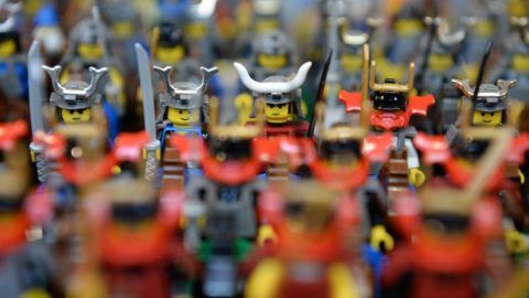 Chinese knights made from Lego can be seen at the Kesselhaus in Trossingen, Germany, 21 October 2017.  The association 'Schwabenstein 2x4' recreated numerous scenes and landscapes from around 450,000 Lego bricks, as the organisers inform. Photo: Patrick Seeger/dpa