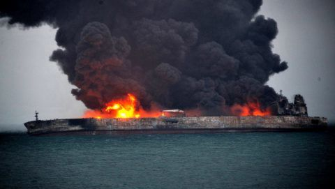 (180107) -- SHANGHAI, Jan. 7, 2018 (Xinhua) -- The Panama-registered oil tanker is seen on fire in waters about 160 sea miles east of the Yangtze River's estuary, Jan. 7, 2018. Thirty-two crew members, including 30 Iranians and two Bangladeshis, have gone missing after two vessels collided off China's east coast on Saturday evening, China's Ministry of Transport said Sunday.   (Xinhua) (dhf)
