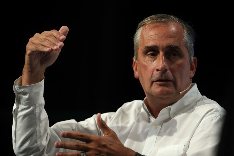 SAN FRANCISCO, CA - SEPTEMBER 18: Intel CEO Brian Krzanich speaks in conversation with Darrell Etherington of TechCrunch during the TechCrunch Disrupt SF 2017 on September 18, 2017 in San Francisco, California. TechCrunch Disrupt puts the spotlight on revolutionary startups and innovators. The three-day conference features interviews with industry leading entrepreneurs, investors and hackers. TechCrunch Disrupt SF runs through September 20.   Justin Sullivan/Getty Images/AFP