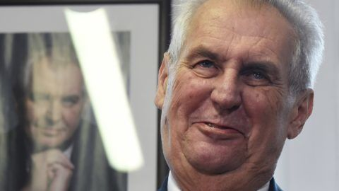 """Czech President and presidential candidate in next Czech presidential election Milos Zeman addresses a press conference after announcing a petition to support his presidential candidacy on November 6, 2017 in Prague. / AFP PHOTO / Michal Cizek / """"The erroneous mention appearing in the metadata of this photo by Michal Cizek has been modified in AFP systems in the following manner: [removing the number of votes to support his presidency]. Please immediately remove the erroneous mention from all your online services and delete it from your servers. If you have been authorized by AFP to distribute it to third parties, please ensure that the same actions are carried out by them. Failure to promptly comply with these instructions will entail liability on your part for any continued or post notification usage. Therefore we thank you very much for all your attention and prompt action. We are sorry for the inconvenience this notification may cause and remain at your disposal for any further information you may require."""""""