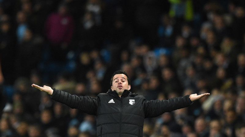 Watford's Portuguese head coach Marco Silva gestures during the English Premier League football match between Manchester City and Watford at the Etihad Stadium in Manchester, north west England, on January 2, 2018. / AFP PHOTO / Oli SCARFF / RESTRICTED TO EDITORIAL USE. No use with unauthorized audio, video, data, fixture lists, club/league logos or 'live' services. Online in-match use limited to 75 images, no video emulation. No use in betting, games or single club/league/player publications.  /