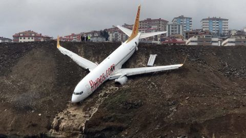 TRABZON, TURKEY - JANUARY 14 : A Pegasus airplane is seen stuck in mud as it skidded off the runway after landing in Trabzon Airport, Turkey early Sunday on January 14, 2018. 162 passengers and crew on board were safely evacuated. Hakan Burak Altunoz / Anadolu Agency