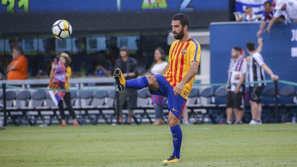 RUTHERFORD, USA - JULY 22: Arda Turan of Barcelona warms up ahead of the International Champions Cup 2017 friendly match between Juventus and Barcelona at Metlife Stadium in Rutherford, New Jersey, United States on July 22, 2017.