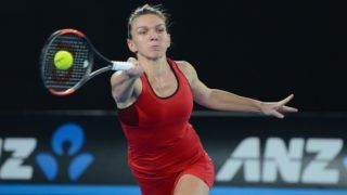 MELBOURNE, AUSTRALIA - JANUARY 27: Simona Halep of Romania in action against Caroline Wozniacki (not seen) of Denmark during the women's singles final on day 13 of the 2018 Australian Open at Melbourne Park in Melbourne, Australia on January 27, 2018. Caroline Wozniacki won the match with 2-1.   Recep Sakar / Anadolu Agency