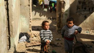Palestinian children play Outside their family's house in Al-Shati refugee camp in Gaza City January 21, 2018.  (Photo by Majdi Fathi/NurPhoto)