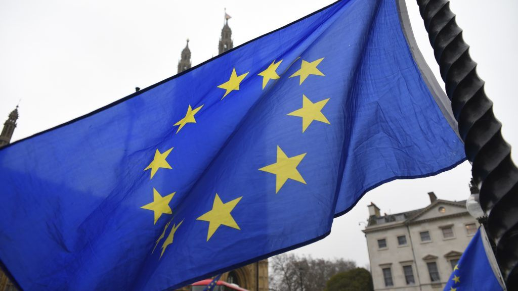 European Union and British flags are waved and exposed outside the Parliament, London on January 9, 2018. Brussels accuses David Davis of hypocrisy over EU discrimination claim. Brexit secretary's leaked letter to Theresa May claims UK business interests damaged by EU's warnings on no-deal scenario. (Photo by Alberto Pezzali/NurPhoto)