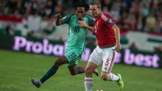 Gelson Martins (L) of Portugal in action with Mihaly Korhut (R) of Hungary during the World Cup qualification match between Hungary and Portugal at Groupama Arena on Nov 03, 2017 in Budapest, Hungary. (Photo by Robert Szaniszló/NurPhoto)