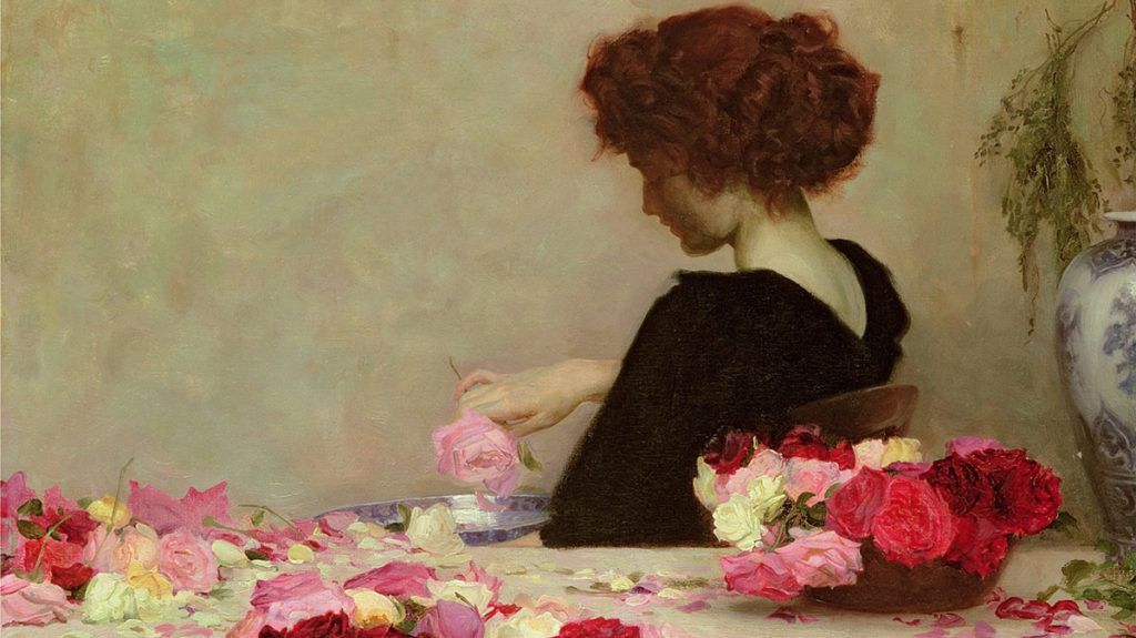 MAA181779 Pot Pourri, 1897 (oil on canvas) by Draper, Herbert James (1864-1920); 50.8x68.5 cm; Private Collection; Photo © The Maas Gallery, London; English,  out of copyright