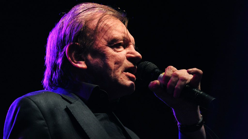 MANCHESTER, ENGLAND - APRIL 19: Mark E Smith, singer with The Fall performs at The O2 Ritz Manchester on April 19, 2016 in Manchester, England. (Photo by Visionhaus/Corbis via Getty Images)