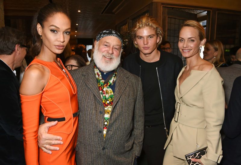 LONDON, ENGLAND - DECEMBER 04:  (L to R) Joan Smalls, Bruce Weber, Jordan Barrett and Amber Valletta attend The Fashion Awards in partnership with Swarovski nominees' lunch hosted by the British Fashion Council at Little House Mayfair on December 4, 2016 in London, England.  (Photo by David M. Benett/Dave Benett/Getty Images for Soho House)