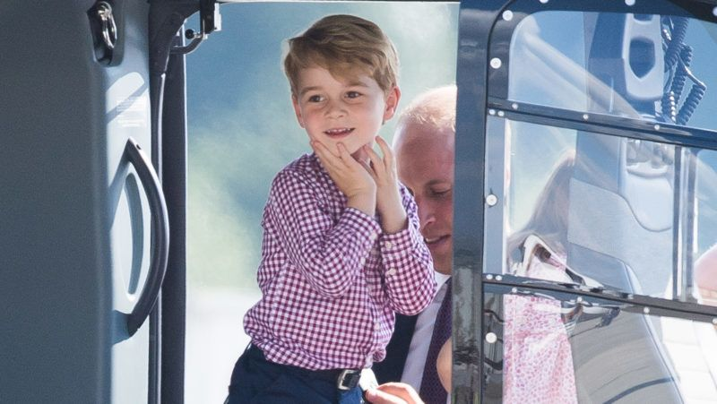 HAMBURG, GERMANY - JULY 21:  Prince George of Cambridge views helicopter models H145 and H135 before departing from Hamburg airport on the last day of their official visit to Poland and Germany on July 21, 2017 in Hamburg, Germany.  (Photo by Samir Hussein/WireImage)