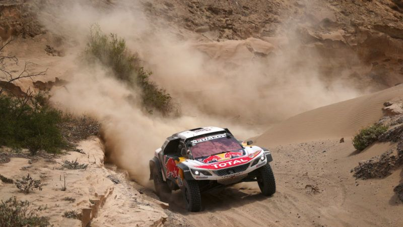UNSPECIFIED, PERU - JANUARY 09:  Sebastien Loeb of France and Peugeot Total drives with co-driver Daniel Elena of Monaco in the 3008 DKR Peugeot car in the Classe : T1.4 2 Roues Motrices, Diesel during stage four of the 2018 Dakar Rally, a loop stage to and from San Juan de Marcona on January 9, 2018 in UNSPECIFIED, Peru.  (Photo by Dan Istitene/Getty Images)