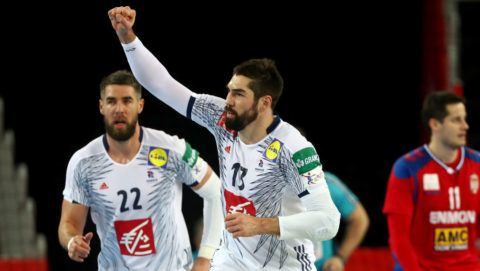 ZAGREB, CROATIA - JANUARY 22: Nikola Karabatic of France celebrates after scoring a goal during the Men's Handball European Championship main round match between Serbia and France at Arena Zagreb on January 22, 2018 in Zagreb, Croatia.  (Photo by Martin Rose/Bongarts/Getty Images)