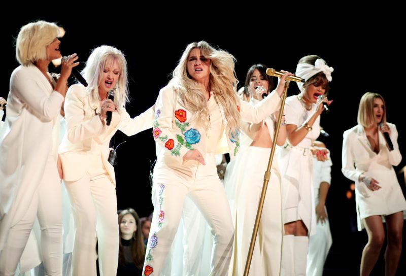 NEW YORK, NY - JANUARY 28:  (L-R) Bebe Rexha, Cyndi Lauper, Kesha; Camila Cabello, Andra Day, Kesha and Julia Michaels perform onstage during the 60th Annual GRAMMY Awards at Madison Square Garden on January 28, 2018 in New York City.  (Photo by Christopher Polk/Getty Images for NARAS)