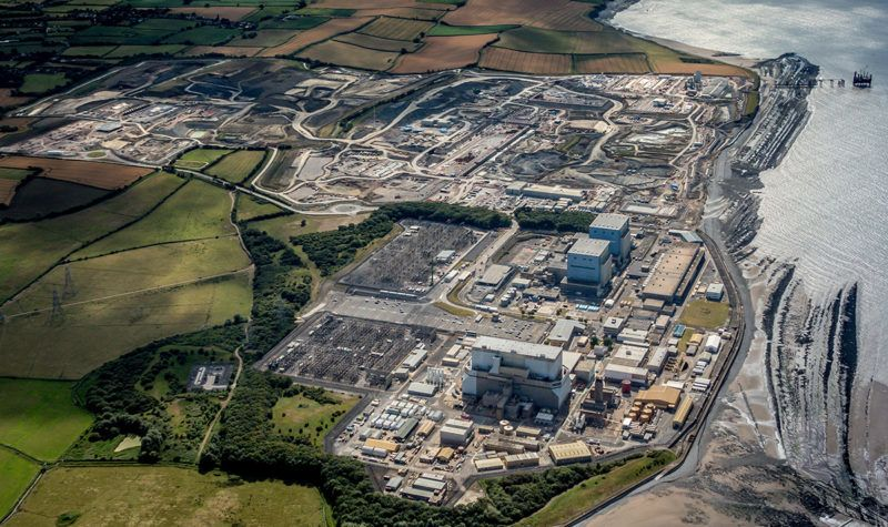 BRIDGEWATER, ENGLAND - AUGUST 8:  Aerial photograph of the nuclear site at Hinkley Point located 13 miles north of Taunton on the southern bank of the Bristol channel on August 8, 2017 in Bridgewater, England.  (Photograph by David Goddard/Getty Images)