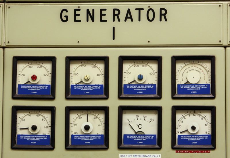 HINKLEY POINT, ENGLAND - AUGUST 1: Dials on the wall of the control room that once indicated power output now point to zero in Hinkley Point A Nuclear Power Station on August 1 2006 in Hinkley Point, Somerset, England. Construction at the twin reactor Magnox nuclear power station started in 1957 and it generated electricity from 1965 until its closure in 2000. Prime Minister Tony Blair has called for the construction of more nuclear power stations to replace the ones that have or are due to be de-commissioned and to help meet the UK's target for cutting harmful greenhouse gases. (Photo by Matt Cardy/Getty Images)
