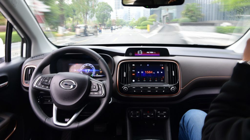 Interior view of a self-driving car during a trial run in Guangzhou city, south China's Guangdong province, 2 February 2018.  Six self-driving cars have successfully completed a trial run in Guangzhou in Guangdong Province on 2 February2018. The cars completed a 2.8 kilometer pre-arranged route with set speed limits.