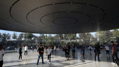 CUPERTINO, CA - SEPTEMBER 12: A view of the Steve Jobs Theatre at Apple Park on September 12, 2017 in Cupertino, California. Apple is holding their first special event at the new Apple Park campus where they are expected to unveil a new iPhone.   Justin Sullivan/Getty Images/AFP