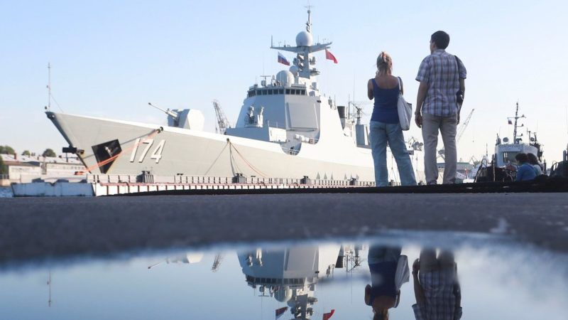 SAINT-PETERSBURG, RUSSIA - JULY 27: China's missile destroyer Hefei arrives at St Petersburg to take part in a ship parade marking Russian Navy Day in St. Petersburg, Russia, 27 July 2017. Sergey Mihailicenko / Anadolu Agency