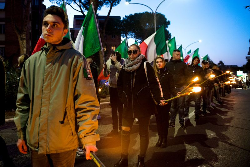The far-right movement Casapound marched in Rome, Italy,  Saturday, February 10, 2018 to remember the 'Foibe' massacres of Italians in northeast Italy, some of which is now Croatia and Slovenia, by Tito's partisans at the end of WWII. (Photo by Michele Spatari/NurPhoto)