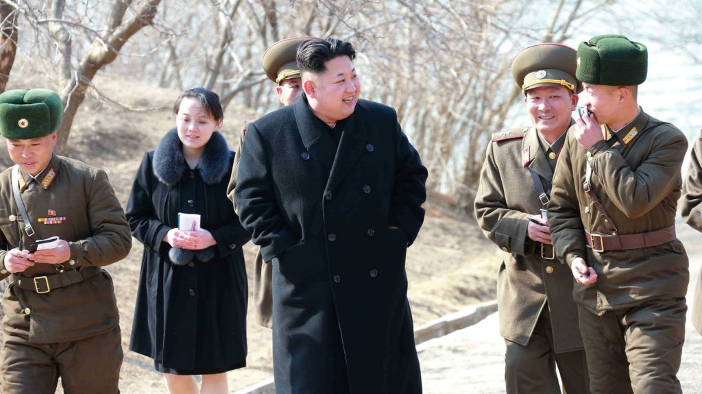"""This undated picture released from North Korea's official Korean Central News Agency (KCNA) on March 12, 2015 shows North Korean leader Kim Jong-Un (C) inspecting the Sin Islet defence company in Kangwon province, while Kim Yo-Jong (2nd L), vice department director of the Central Committee of the Worker's Party of Korea (WPK) and the younger sister of Kim Jong-Un, follows him.   AFP PHOTO / KCNA via KNS    REPUBLIC OF KOREA OUT THIS PICTURE WAS MADE AVAILABLE BY A THIRD PARTY. AFP CAN NOT INDEPENDENTLY VERIFY THE AUTHENTICITY, LOCATION, DATE AND CONTENT OF THIS IMAGE. THIS PHOTO IS DISTRIBUTED EXACTLY AS RECEIVED BY AFP. ---EDITORS NOTE--- RESTRICTED TO EDITORIAL USE - MANDATORY CREDIT """"AFP PHOTO / KCNA VIA KNS"""" - NO MARKETING NO ADVERTISING CAMPAIGNS - DISTRIBUTED AS A SERVICE TO CLIENTS / AFP PHOTO / KCNA / KNS"""