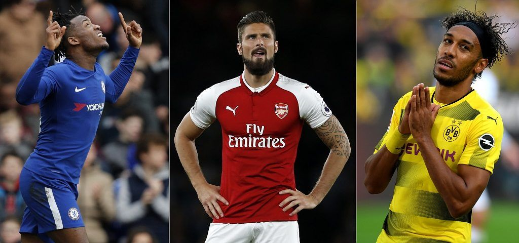 (COMBO) A combination of file images created in London on January 31, 2018 shows (on the right) Dortmund's Gabonese striker Pierre-Emerick Aubameyang reacting during a German Bundesliga football match against Borussia Moenchengladbach in Dortmund, western Germany on September 23, 2017, (in the centre) Arsenal's French striker Olivier Giroud gesturing during the English Premier League football match between Arsenal and Leicester City at the Emirates Stadium in London on August 11, 2017, and (on the left) Chelsea's Belgian striker Michy Batshuayi celebrating after scoring the opening goal of the English FA Cup fourth round football match between Chelsea and Newcastle United at Stamford Bridge in London on January 28, 2018. Chelsea signed France striker Olivier Giroud from London rivals Arsenal on Wednesday's transfer deadline day, freeing up Michy Batshuayi to leave Stamford Bridge on loan to German side Borussia Dortmund, as Pierre-Emerick Aubameyang joined Arsenal from Borussia Dortmund for a club-record fee of around £56 million. / AFP PHOTO / RESTRICTED TO EDITORIAL USE. No use with unauthorized audio, video, data, fixture lists, club/league logos or 'live' services. Online in-match use limited to 75 images, no video emulation. No use in betting, games or single club/league/player publications.  / XGTY