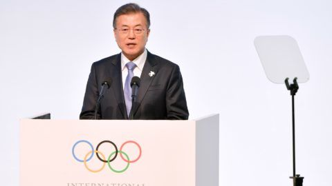 South Korea's President Moon Jae-in speaks during the opening ceremony of the 132nd IOC Session prior the Pyeongchang 2018 Winter Olympic Games on February 5, 2018 in Gangneung.  / AFP PHOTO / Fabrice COFFRINI